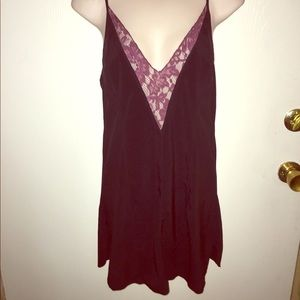 Free people slip dress with purple lace